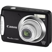 Canon PowerShot A480 Black, 10.0 Mpixel/ 3.3x optical zoom/ DIGIC III/ 2.5ā€¯ LCD/ Face, Motion Detection/ Auto Red-Eye Corr./ VGA and LP movies/ PictBridge/ 2x Size-AA Alkaline or NiMH Batt