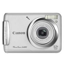 Canon PowerShot A480 Silver, 10.0 Mpixel/ 3.3x optical zoom/ DIGIC III/ 2.5ā€¯ LCD/ Face, Motion Detection/ Auto Red-Eye Corr./ VGA and LP movies/ PictBridge/ 2x Size-AA Alkaline or NiMH Batt
